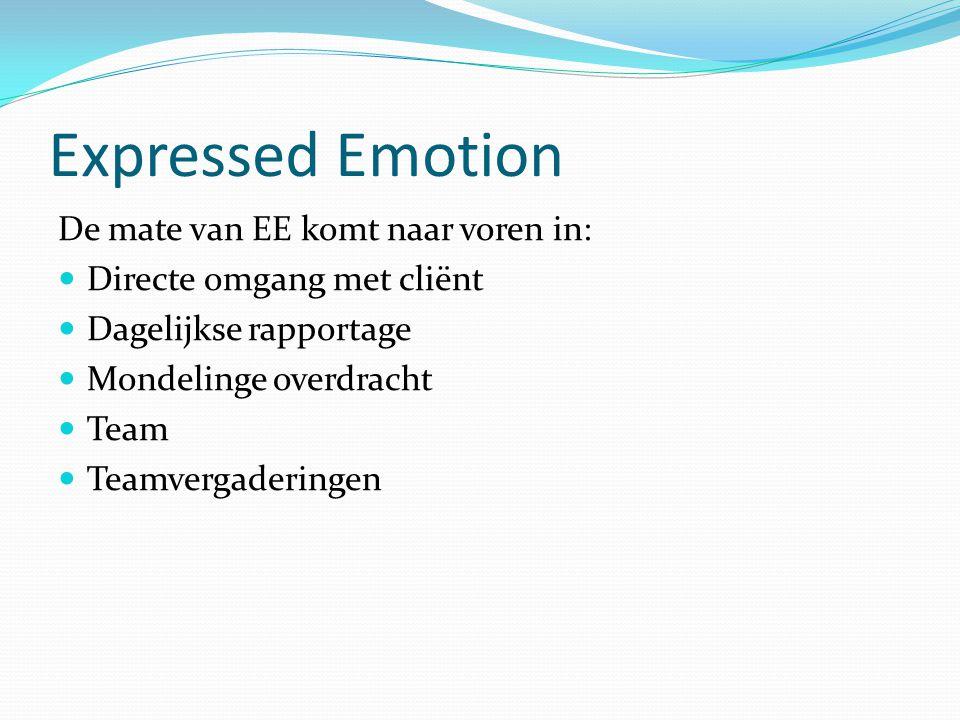 Expressed Emotion De mate van EE komt naar voren in: