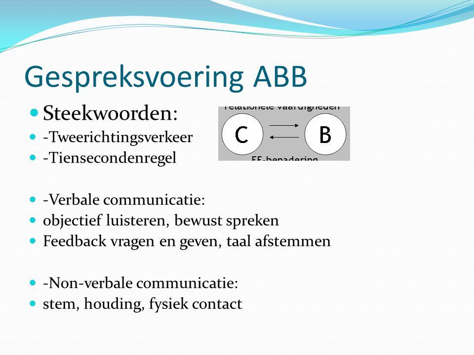 Gespreksvoering ABB Steekwoorden: -Tweerichtingsverkeer