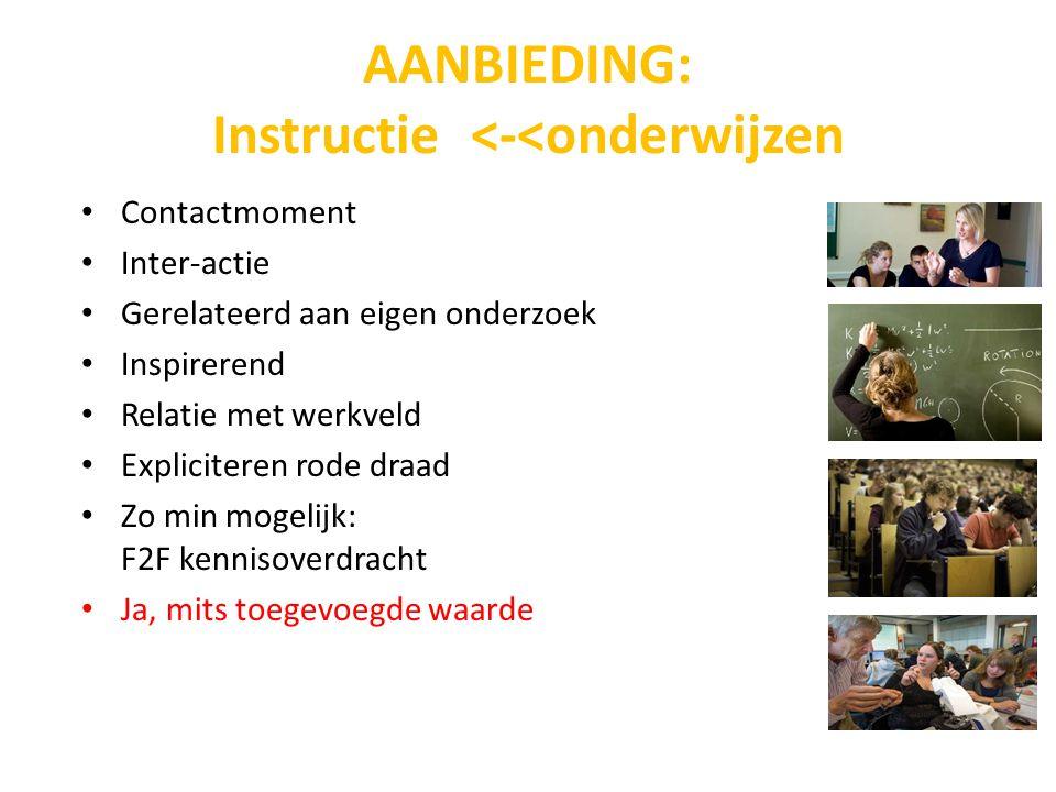 AANBIEDING: Instructie <-<onderwijzen