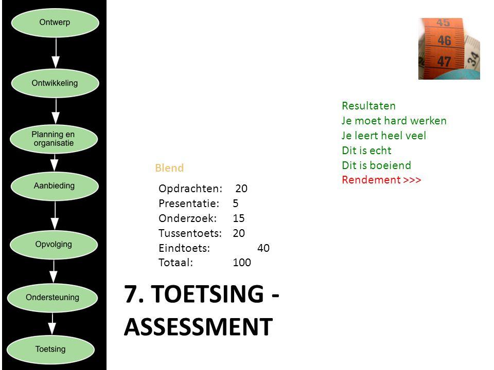 7. Toetsing - assessment Resultaten Je moet hard werken
