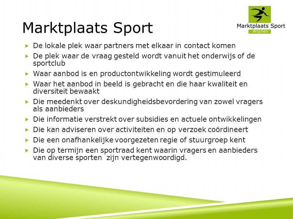 Marktplaats Sport De lokale plek waar partners met elkaar in contact komen.