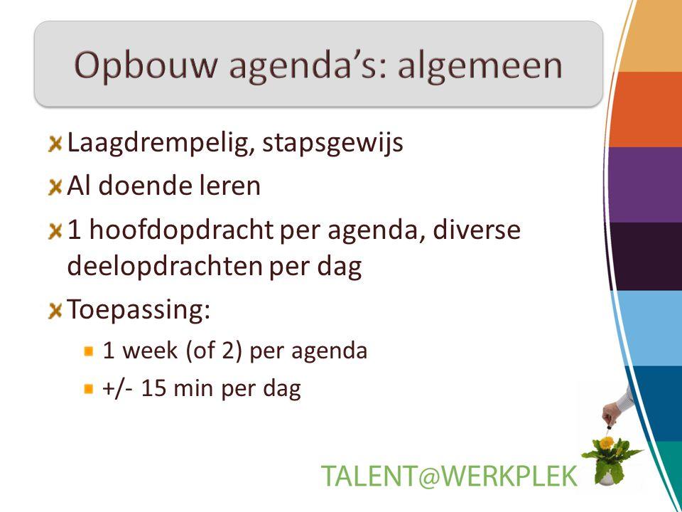 Opbouw agenda's: algemeen