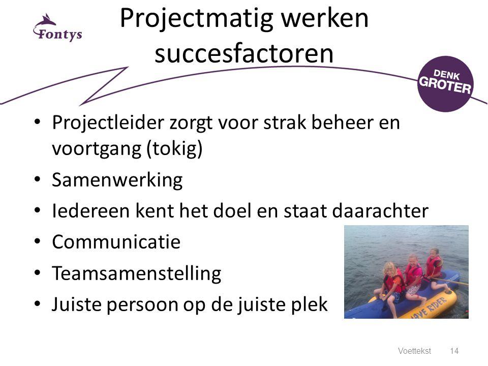 Projectmatig werken succesfactoren
