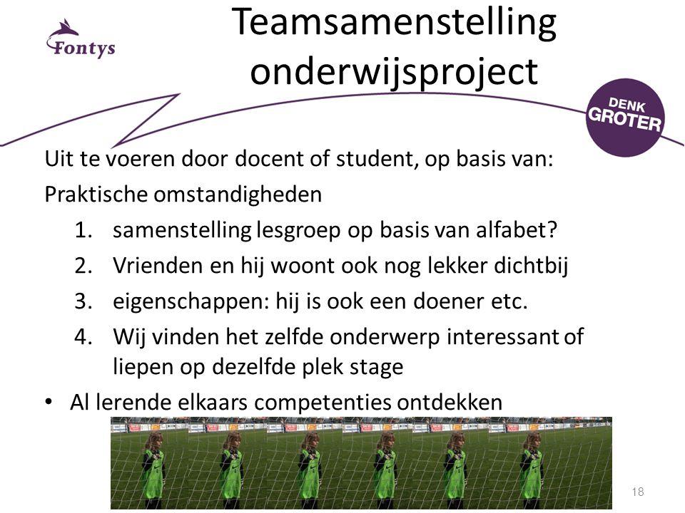 Teamsamenstelling onderwijsproject