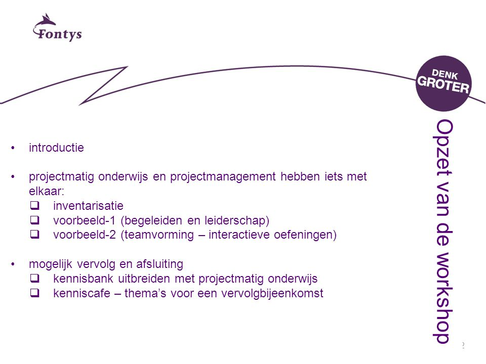 Opzet van de workshop introductie