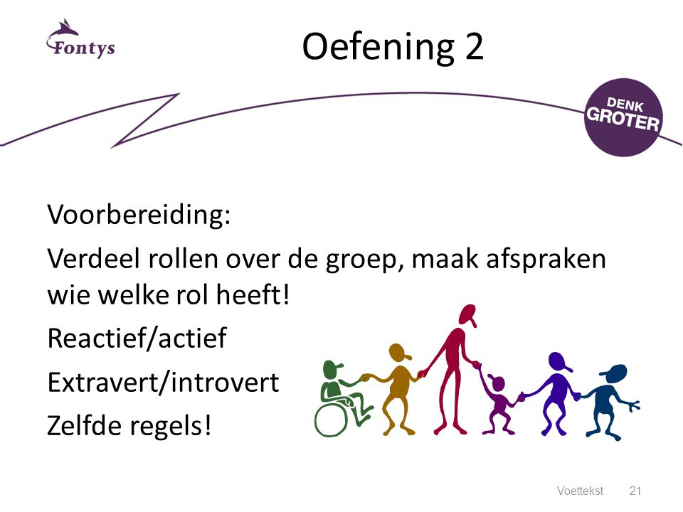 Oefening 2 Voorbereiding: Verdeel rollen over de groep, maak afspraken wie welke rol heeft! Reactief/actief Extravert/introvert Zelfde regels!