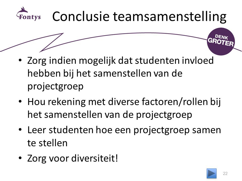 Conclusie teamsamenstelling