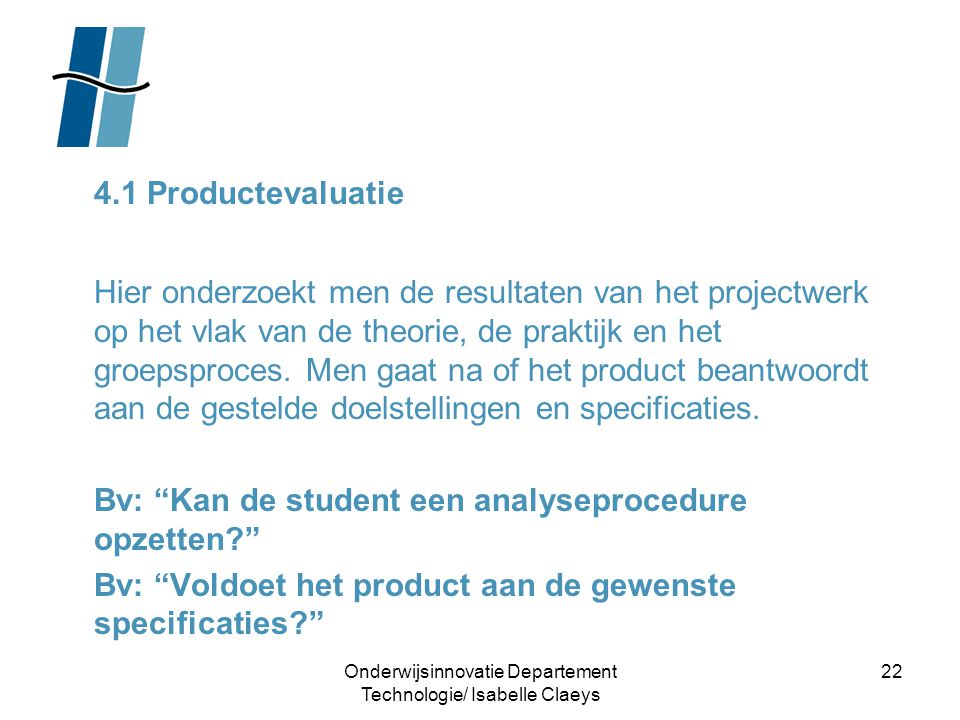 Onderwijsinnovatie Departement Technologie/ Isabelle Claeys