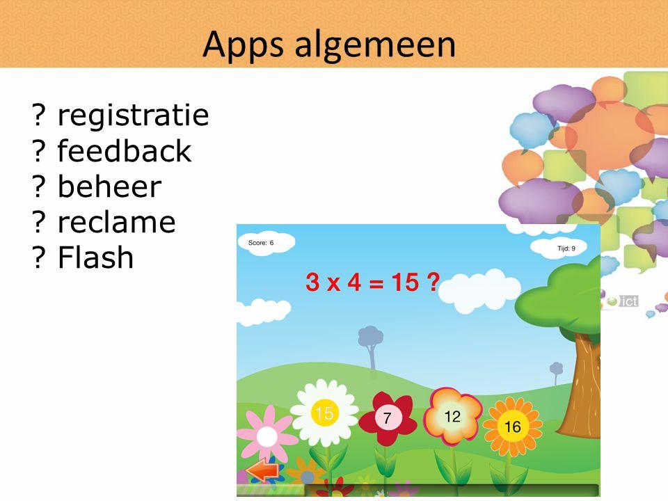 Apps algemeen registratie feedback beheer reclame Flash