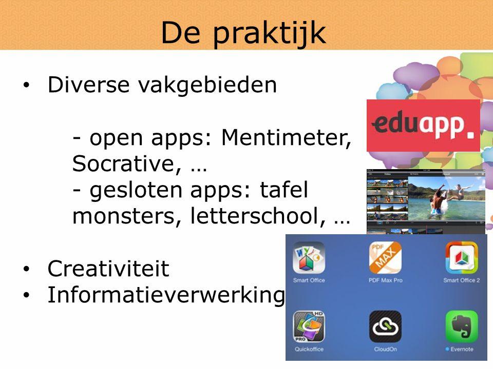 De praktijk Diverse vakgebieden - open apps: Mentimeter, Socrative, …