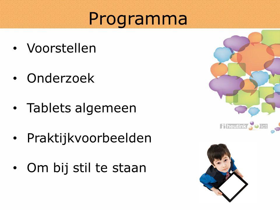 Programma Voorstellen Onderzoek Tablets algemeen Praktijkvoorbeelden