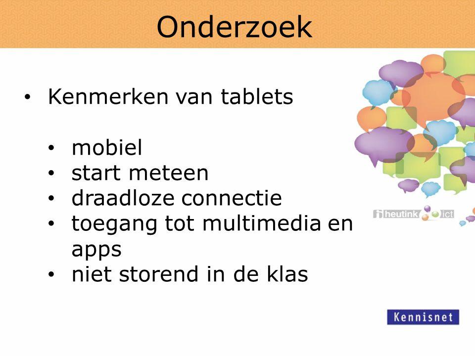 Onderzoek Kenmerken van tablets mobiel start meteen