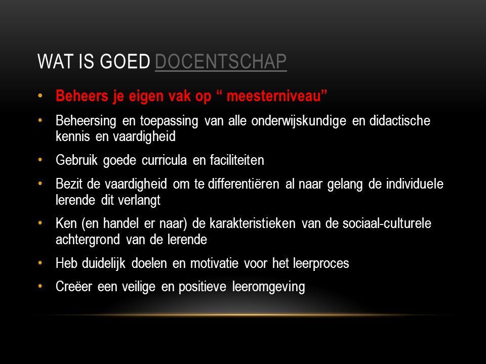Wat is goed docentschap