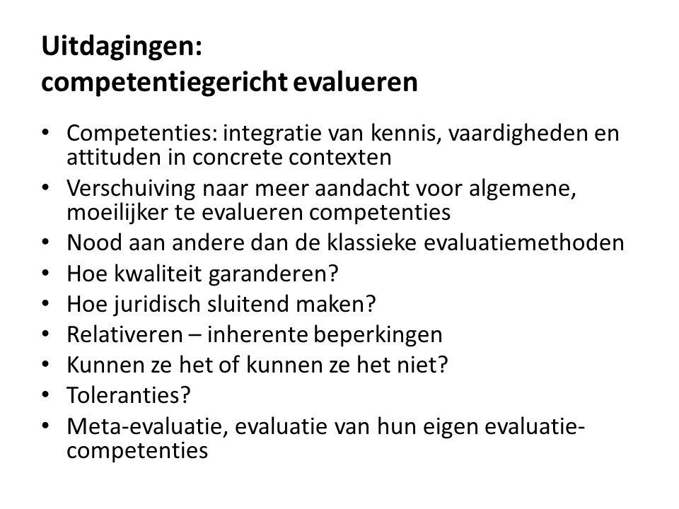 Uitdagingen: competentiegericht evalueren