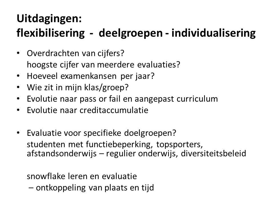 Uitdagingen: flexibilisering - deelgroepen - individualisering