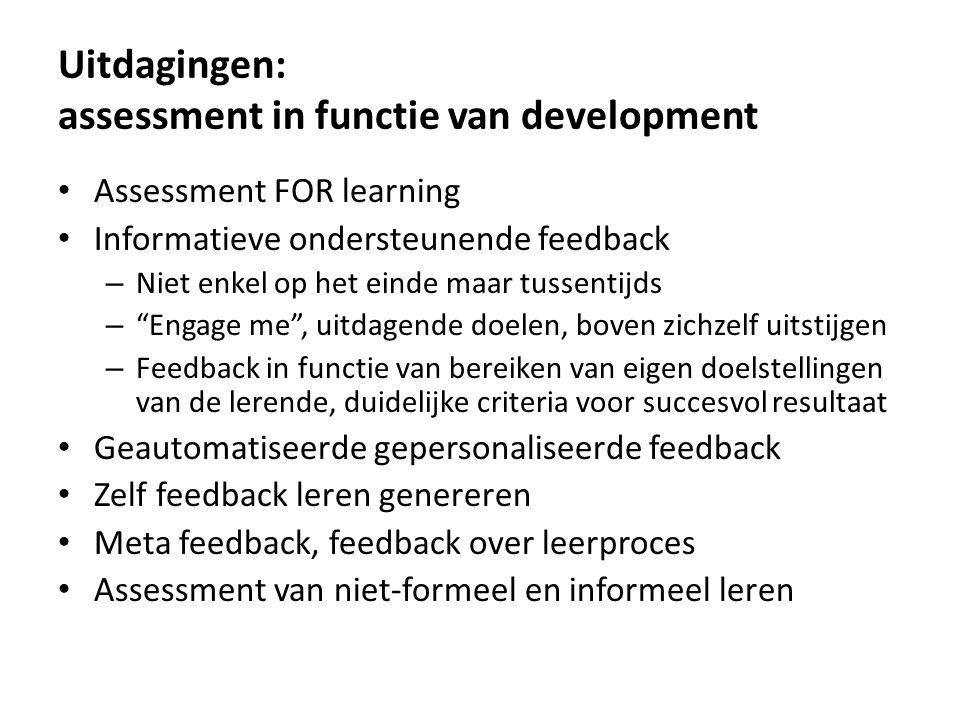 Uitdagingen: assessment in functie van development
