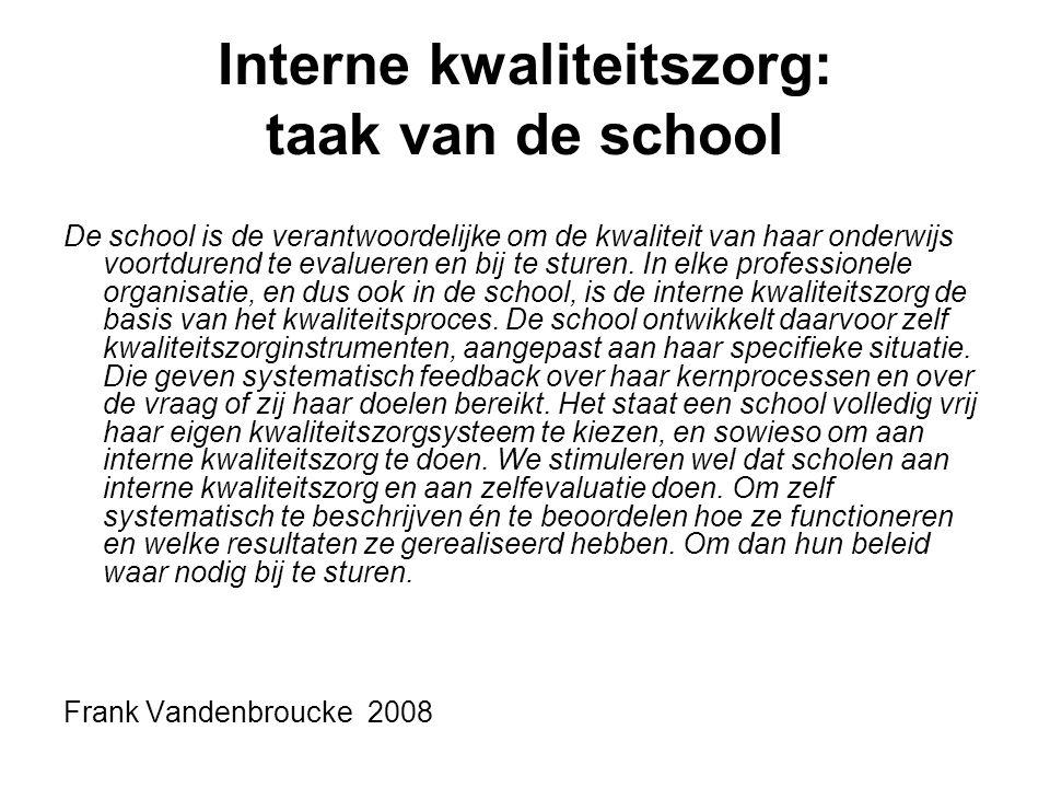 Interne kwaliteitszorg: taak van de school