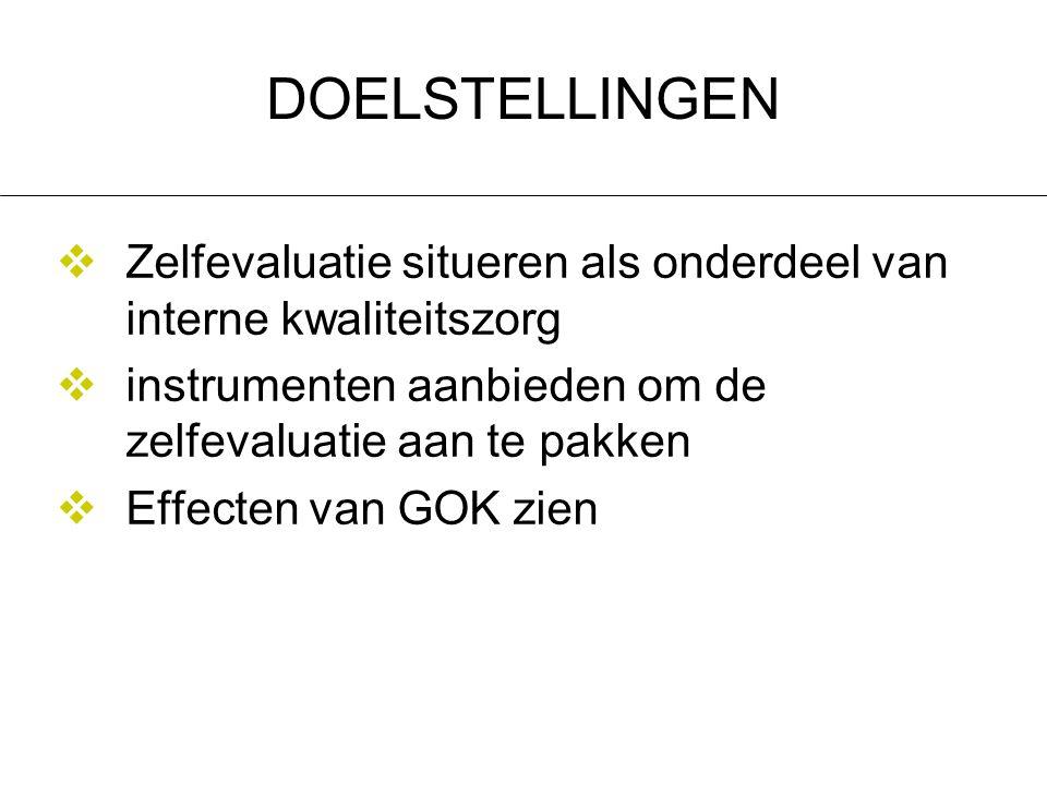 4-4-2017 DOELSTELLINGEN. Zelfevaluatie situeren als onderdeel van interne kwaliteitszorg. instrumenten aanbieden om de zelfevaluatie aan te pakken.