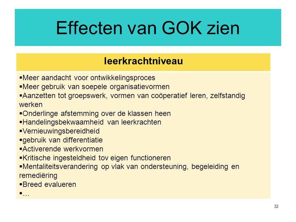 Effecten van GOK zien leerkrachtniveau