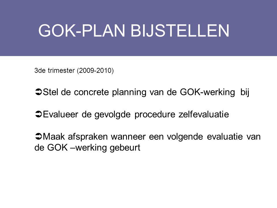 GOK-PLAN BIJSTELLEN Stel de concrete planning van de GOK-werking bij