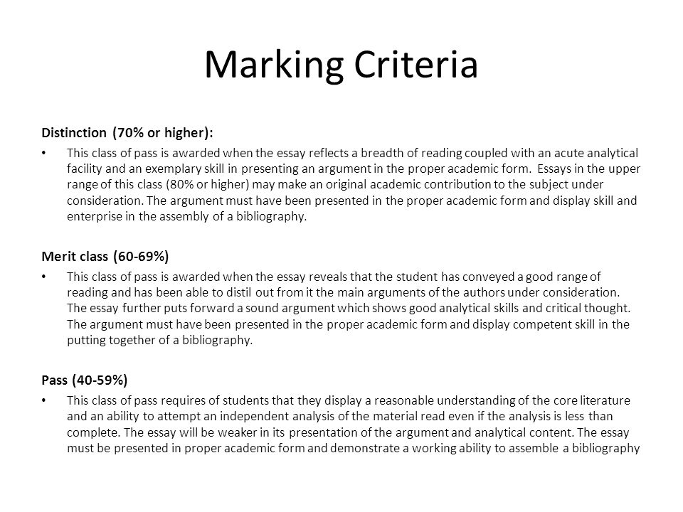 Marking Criteria Distinction (70% or higher): Merit class (60-69%)