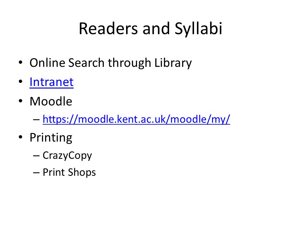 Readers and Syllabi Online Search through Library Intranet Moodle