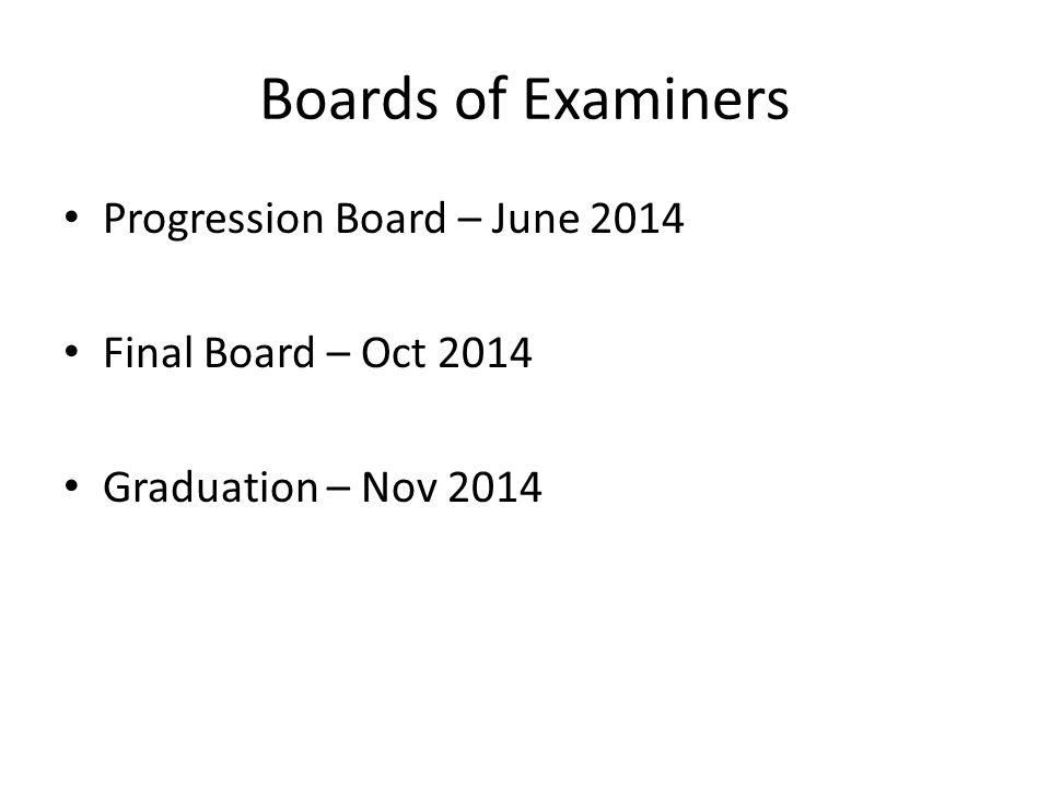 Boards of Examiners Progression Board – June 2014