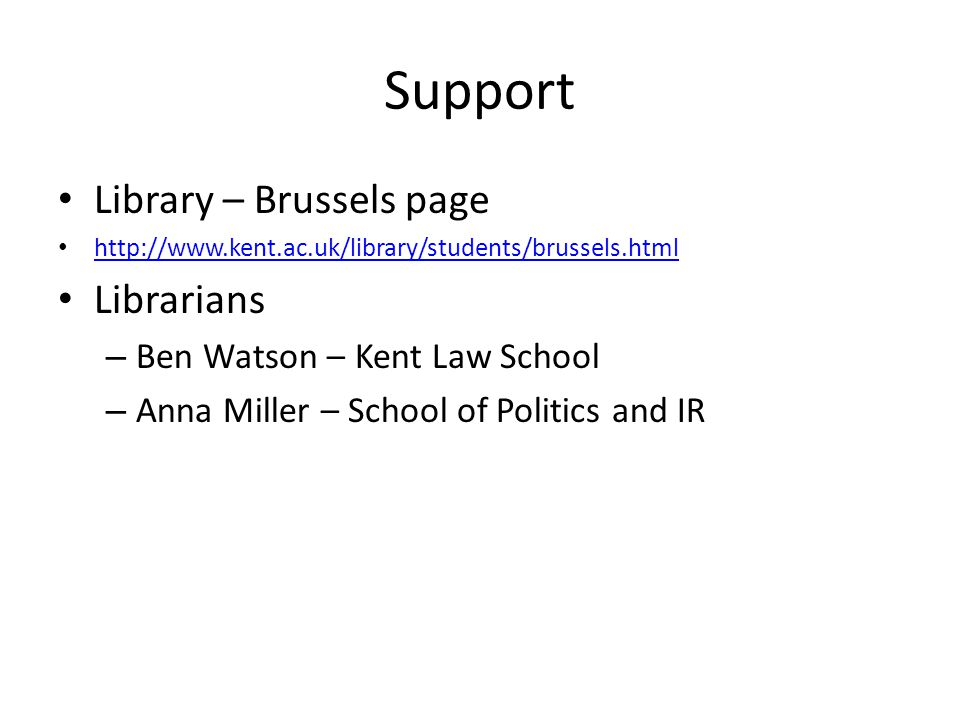 Support Library – Brussels page Librarians