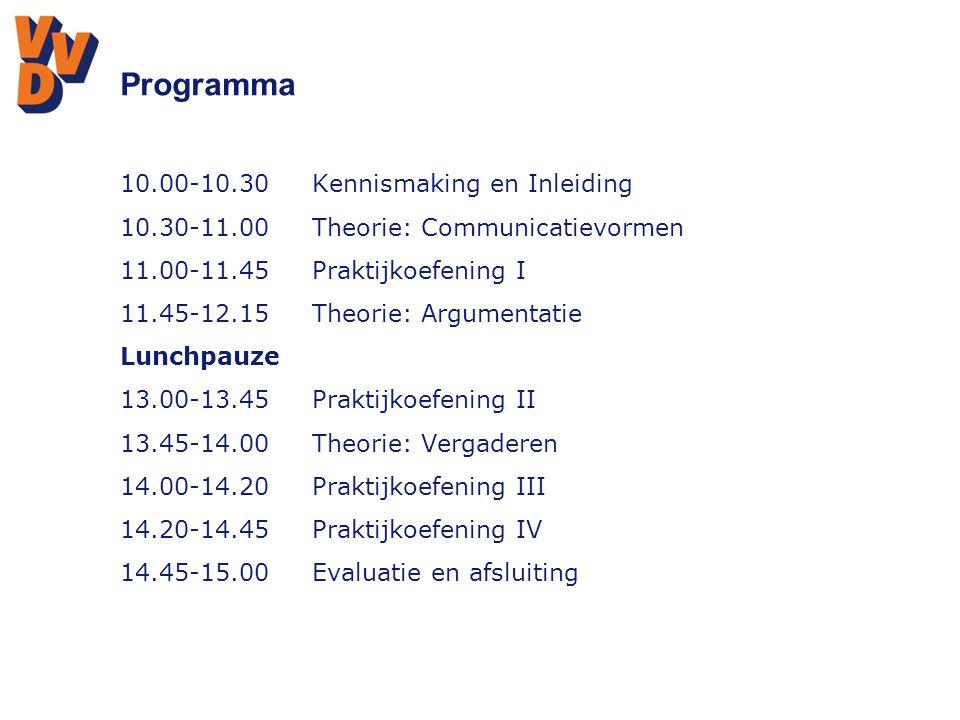 Programma s 10.00-10.30 Kennismaking en Inleiding
