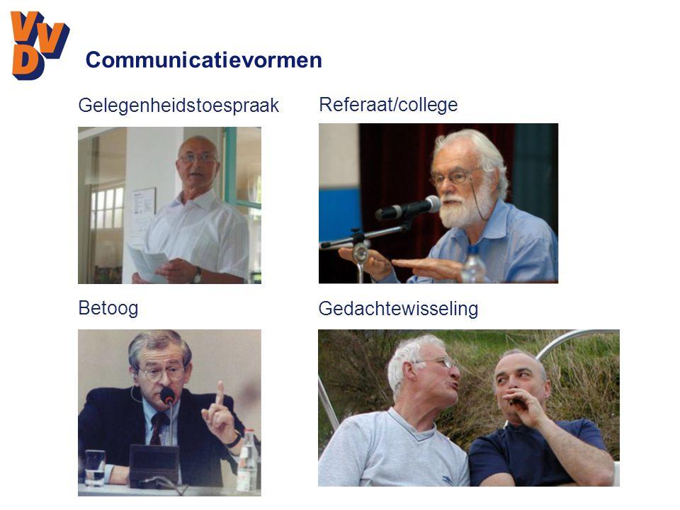 Communicatievormen Gelegenheidstoespraak Referaat/college Betoog