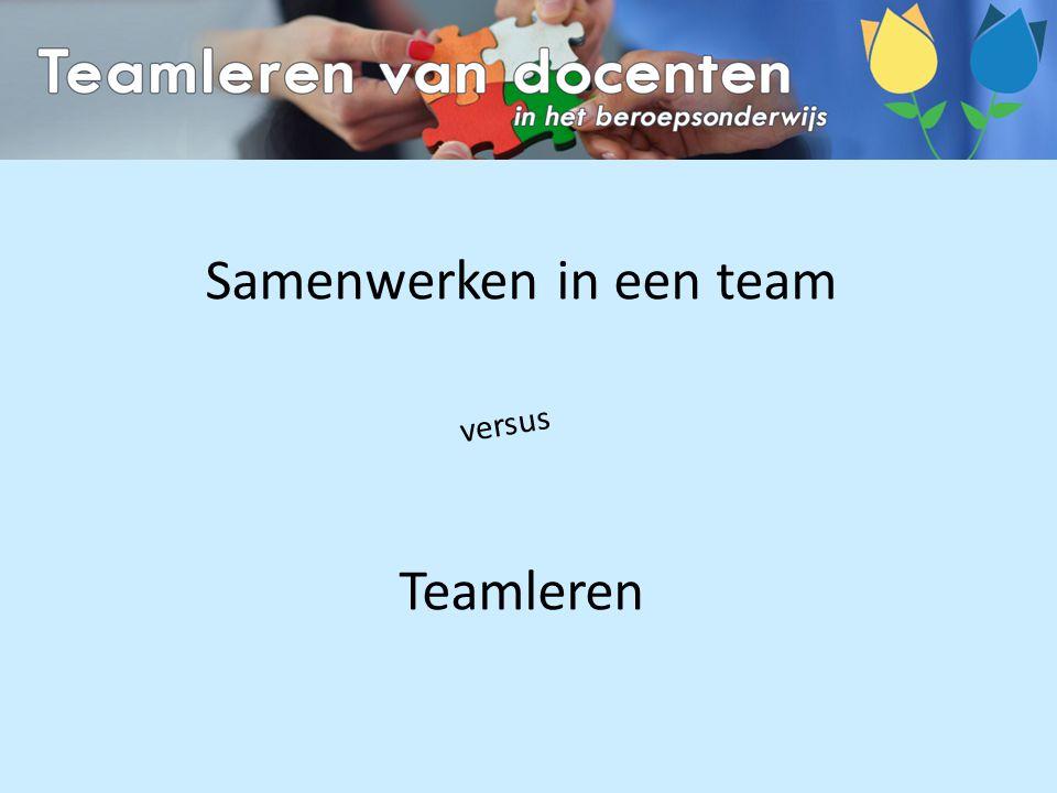 Samenwerken in een team Teamleren