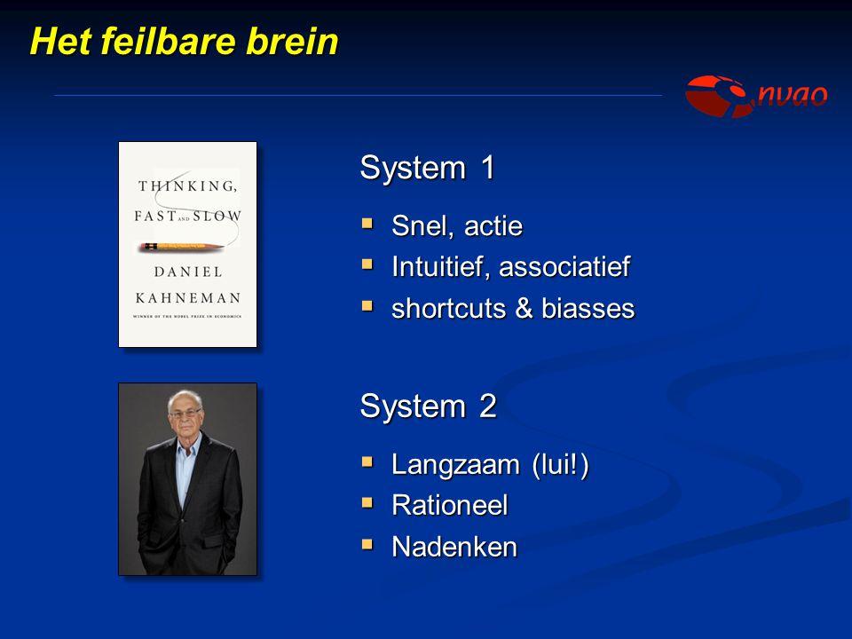 Het feilbare brein System 1 System 2 Snel, actie