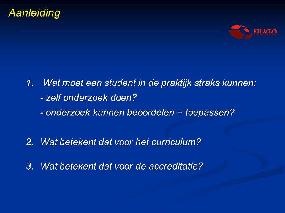 Aanleiding Wat moet een student in de praktijk straks kunnen: