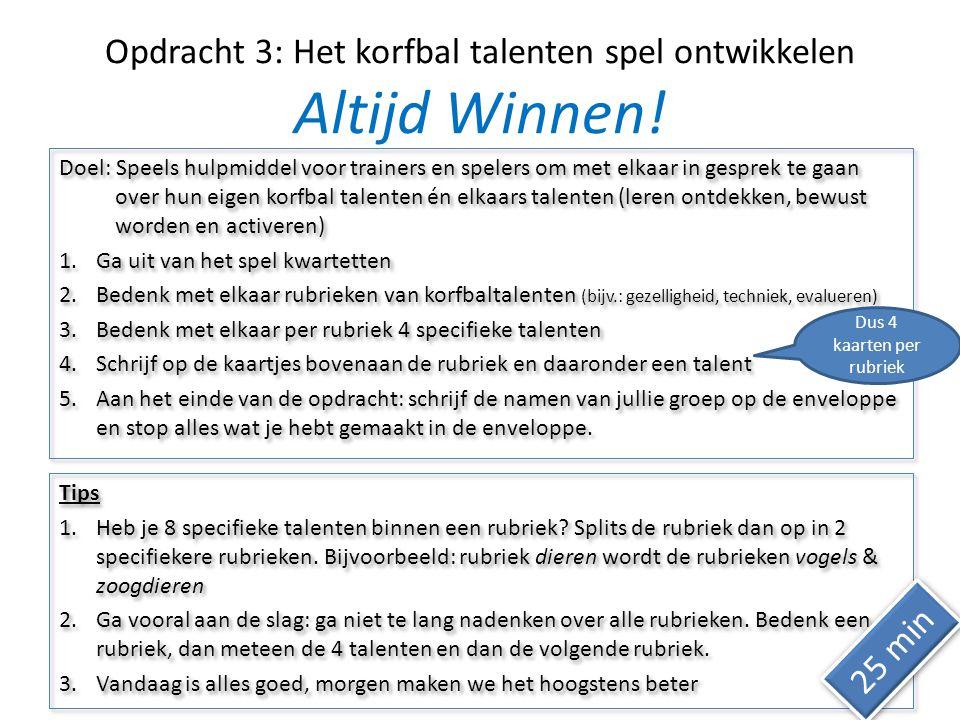 Opdracht 3: Het korfbal talenten spel ontwikkelen Altijd Winnen!