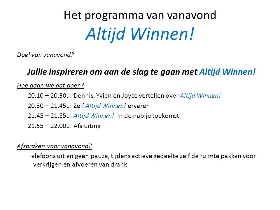 Het programma van vanavond Altijd Winnen!