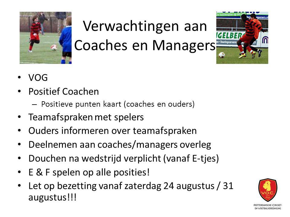 Verwachtingen aan Coaches en Managers