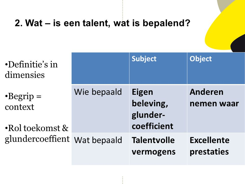 2. Wat – is een talent, wat is bepalend