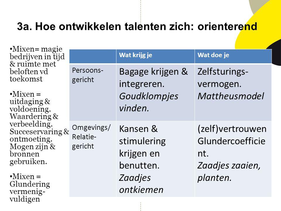 3a. Hoe ontwikkelen talenten zich: orienterend