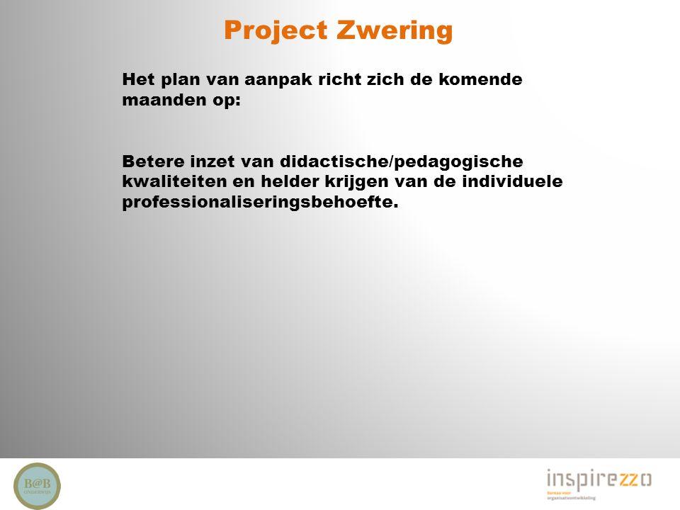 Project Zwering Het plan van aanpak richt zich de komende maanden op: