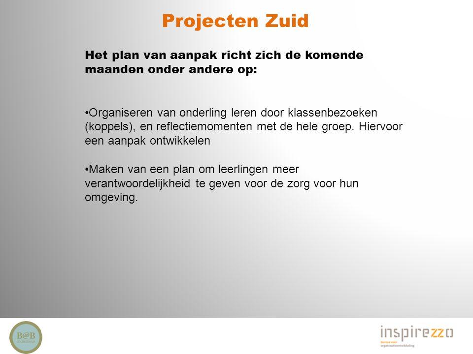 Projecten Zuid Het plan van aanpak richt zich de komende maanden onder andere op: