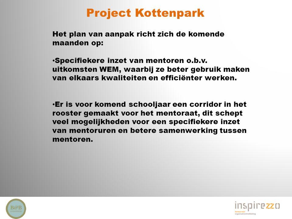 Project Kottenpark Het plan van aanpak richt zich de komende maanden op: