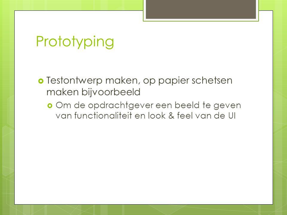 Prototyping Testontwerp maken, op papier schetsen maken bijvoorbeeld