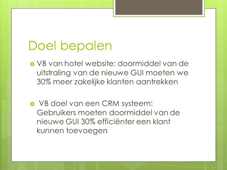 Doel bepalen VB van hotel website: doormiddel van de uitstraling van de nieuwe GUI moeten we 30% meer zakelijke klanten aantrekken.