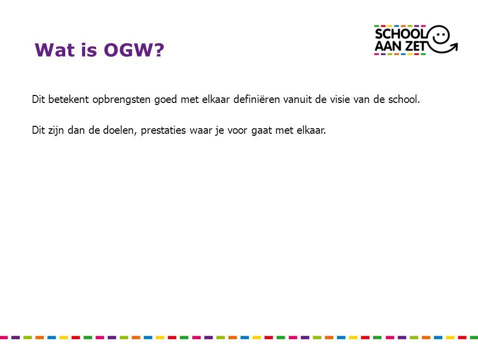 Wat is OGW Dit betekent opbrengsten goed met elkaar definiëren vanuit de visie van de school.