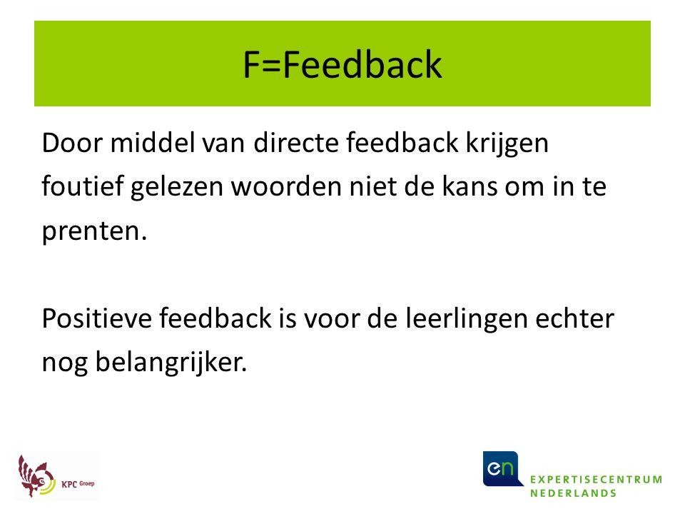 F=Feedback Door middel van directe feedback krijgen