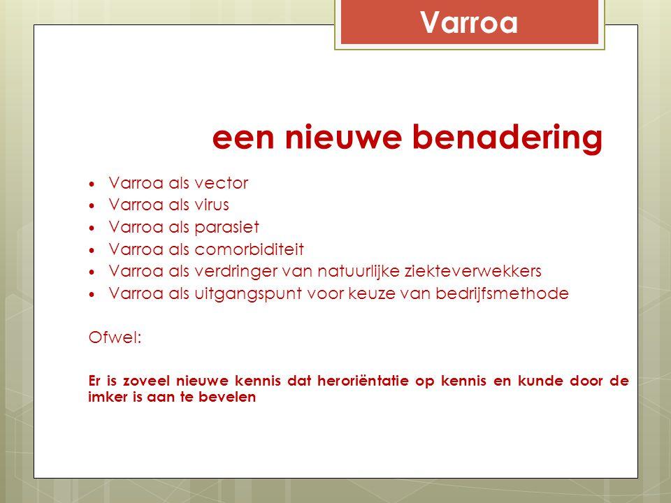 een nieuwe benadering Varroa Varroa als vector Varroa als virus