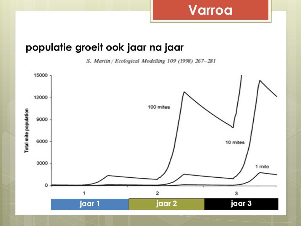 Varroa populatie groeit ook jaar na jaar jaar 1 jaar 2 jaar 3
