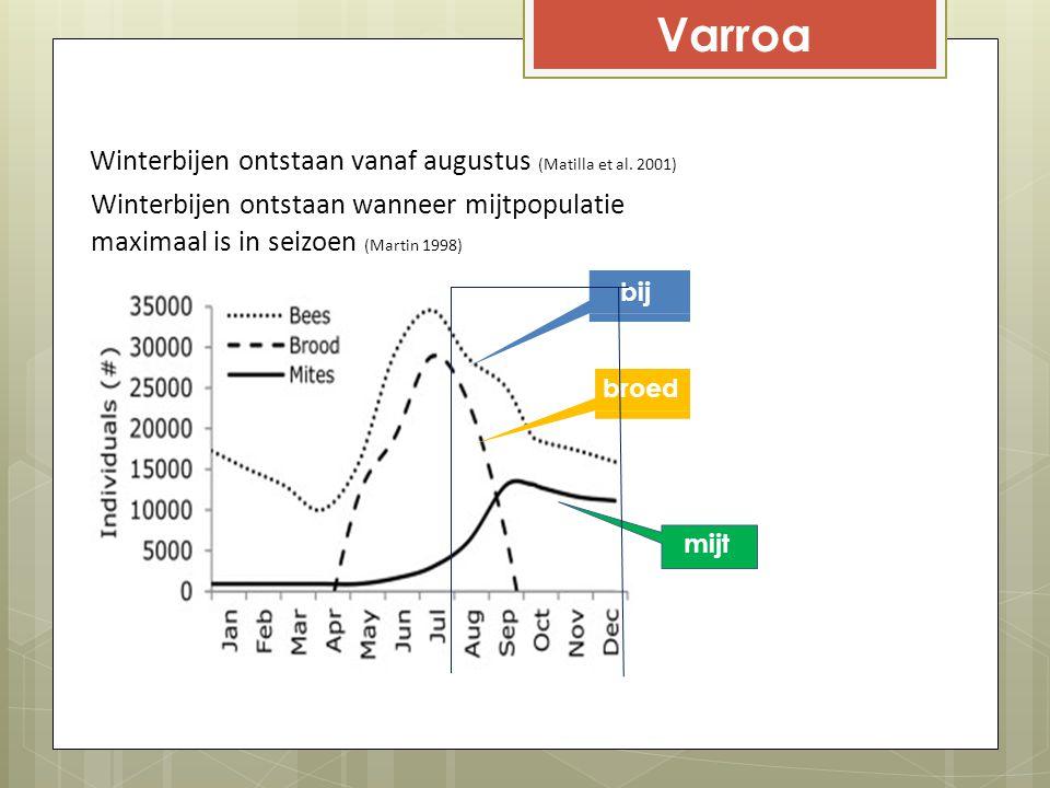 Varroa Winterbijen ontstaan vanaf augustus (Matilla et al. 2001)