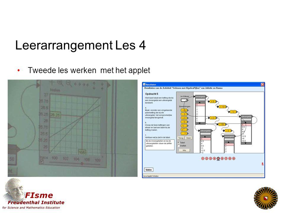 Leerarrangement Les 4 Tweede les werken met het applet
