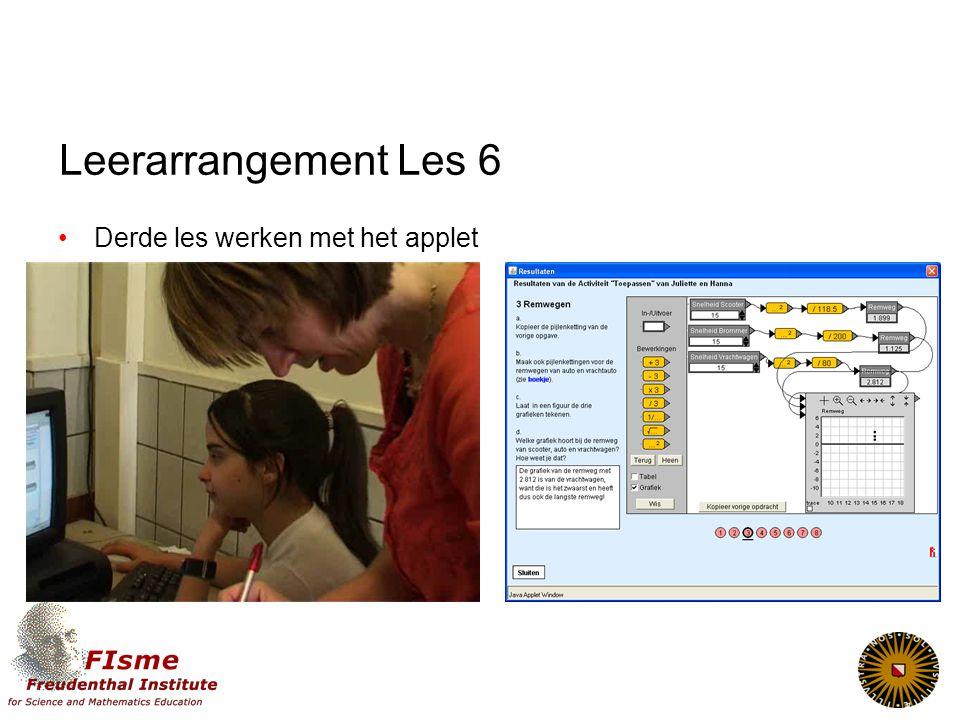 Leerarrangement Les 6 Derde les werken met het applet